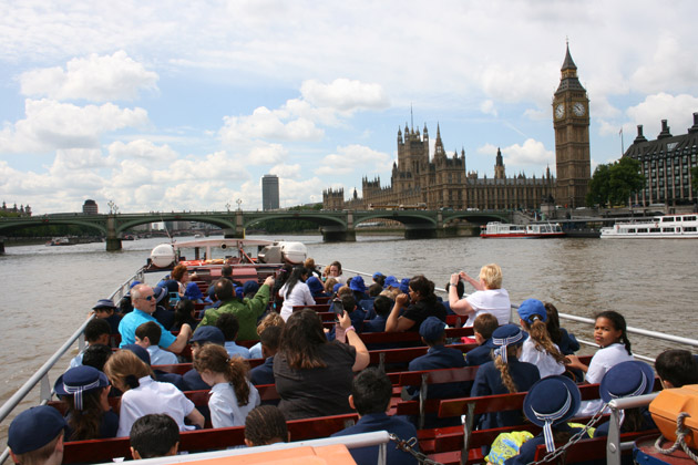 Sightseeing on the river Thames - London
